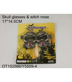 HALLOWEEN - SKULL GLASSES&WHITE NOSE